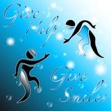 Geef hulp, geef glimlachen: vat achtergrond samen Royalty-vrije Stock Afbeeldingen