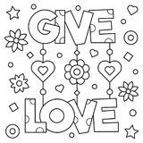 Geef liefde Kleurende pagina Vector illustratie Royalty-vrije Stock Afbeeldingen