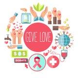 Geef liefde sociale liefdadigheid vectoraffiche voor bloeddonatie en meld me fondsenorganisatie aan vector illustratie