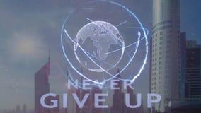 Geef nooit tekst met 3d hologram van de aarde tegen de achtergrond van de moderne metropool op stock illustratie