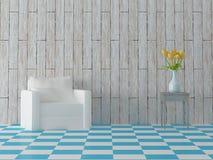 Geef van comosition met blauwe tegels witte bank terug, gele tulpen in kom en uitstekende hardhoutmuur Stock Foto