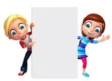 Geef van Little Boy en Meisje met witte raad terug Stock Foto