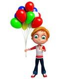 Geef van Weinig jongen met baloon terug Stock Foto