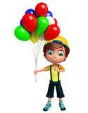 Geef van Weinig jongen met baloon terug Stock Fotografie