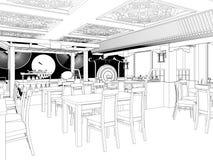 Geef Zwart-witte schets van het Chinese restaurant binnenlandse ontwerp terug royalty-vrije stock afbeeldingen
