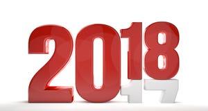 geeft 3d van 2017 van 2018 rode witte terug Stock Afbeeldingen