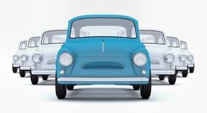 Geeft de blauwe de leidersauto die van het leidingsconcept onder wit op witte 3d achtergrond leiden terug Stock Foto's