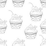 Geeft de contouren aan het Cupcake naadloze patroon, vectoroverzichtsillustratie, kleuring, van zwart-witte tekening Cakes met ro vector illustratie