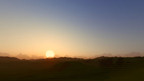 Geeft de duidelijke 3D hemel van de zonsondergangdageraad terug Stock Foto's