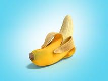 Geeft de half gepelde 3d Banaan Open Banaan op blauw terug Royalty-vrije Stock Foto's