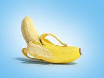 Geeft de half gepelde 3d Banaan Open Banaan op blauwe achtergrond terug Royalty-vrije Stock Foto's