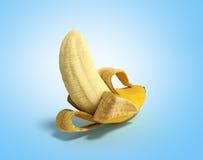 Geeft de half gepelde 3d Banaan Open Banaan op blauwe achtergrond terug Royalty-vrije Stock Afbeelding