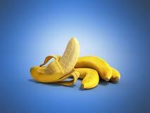 Geeft de half gepelde 3d Banaan Open Banaan op blauwe achtergrond terug Stock Fotografie