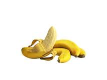 Geeft de half gepelde 3d Banaan Open Banaan op grijze achtergrond terug Royalty-vrije Stock Foto