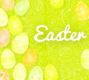 Geeft de malplaatje vectorkaart met realistische 3d eieren, suikergoed terug Handschrift Gelukkige Pasen De krabbels overhandigen Stock Fotografie