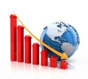 Geeft de onroerende goederendalende grafiek met 3d bol, terug Royalty-vrije Stock Afbeelding