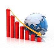 Geeft de onroerende goederendalende grafiek met 3d bol, terug Stock Foto