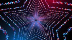 Geeft de ster gevormde tunnel met vele gloeiende cirkeldeeltjes in ruimte, computer geproduceerde abstracte 3D achtergrond, terug Stock Foto's