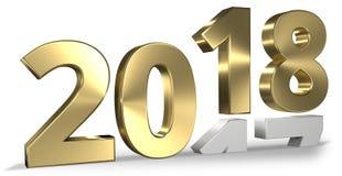 geeft het gelukkige nieuwe 3d jaar van 2018 terug royalty-vrije illustratie
