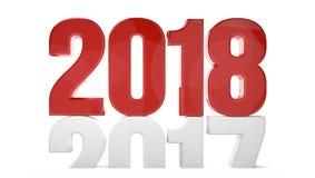 geeft het nieuwe 3d jaar van 2017 van 2018 sylvester symbool terug Stock Foto