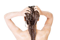 Geeignete Frau der Junge in der Dusche Stockfotos