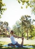 Geeignete Frau, die Yoga im Park tut Stockbilder