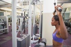 Geeignete Frau, welche die Gewichtsmaschine für ihre Arme verwendet Stockfotografie