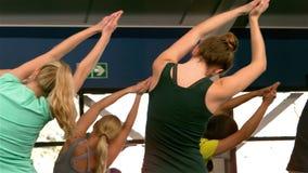 Geeignete Gruppe, die Yoga in der Turnhalle tut stock footage