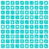 100 geeignete Körperikonen stellten Schmutz blau ein Stockfoto