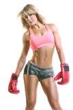 Geeigneter Frauenboxer-Weißhintergrund Stockbild