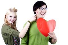Geek Aziaat - Kaukasisch Paar dat op wit wordt geïsoleerd? Stock Afbeeldingen