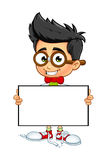 Geek Boy - Holding Blank Board Stock Photo