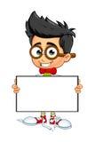 Geek Boy - Holding Blank Board. A cartoon illustration of a Geeky little boy Stock Photo