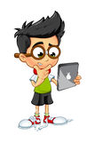 Geek Boy - Holding Tablet. A cartoon illustration of a Geeky little boy Royalty Free Stock Photography