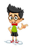 Geek Boy - Pointing. A cartoon illustration of a Geeky little boy Royalty Free Stock Photos