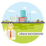 Geek Businessman Urban Landscape City Real Estate Stock Photo