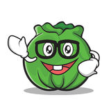 Geek cabbage cartoon character style Stock Photography