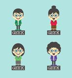 Geek cartoon character set Stock Photo