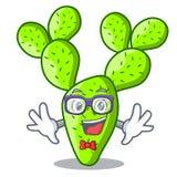 Geek cartoon opuntia cactus in the desert. Vector illustration vector illustration