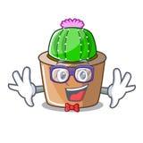 Geek cartoon star cactus plants at cactus farm. Vector illustration stock illustration
