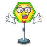 Geek cartoon traffic sign on traffic road. Vector illustration vector illustration