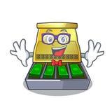 Geek cartoon vintage cash register front view. Vector illustration royalty free illustration