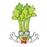 Geek celery character cartoon style. Vector illustration stock illustration