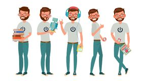 Geek Character Vector. Man. Classic Geek, Nerd. Isolated On White Cartoon Illustration. Classic Geek Man Vector. Funny Modern Geek. Sleuthing, Disguising. Flat vector illustration