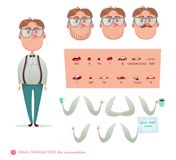 Geek character for your scenes. Parts of body template for design work and animation. Funny cartoon.Vector illustration isolated on white background. Character stock illustration