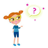 Geek child - isolated on white background. Cute geek girl with glasses and question bubble. Vector Illustration Stock Photography