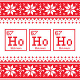 Geek Christmas seamless pattern, Ho Ho Ho chemistry periodic table background, ugly Xmas sweater or jumper style stock illustration