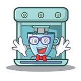 Geek coffee maker character cartoon. Vector illustration royalty free illustration