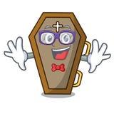 Geek coffin character cartoon style. Vector illustration vector illustration