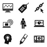 Geek community icons set, simple style. Geek community icons set. Simple set of 9 geek community vector icons for web isolated on white background stock illustration